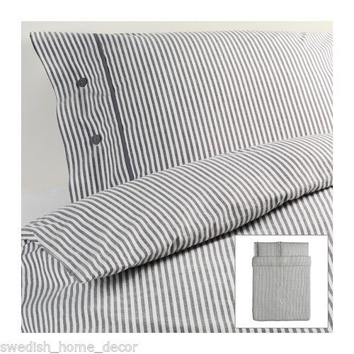 Ikea Grey Classic Ticking Stripe Cottage Duvet Quilt Cover Full Queen Nyponros Ikea Duvet Cover Ikea Duvet Duvet Cover Pattern