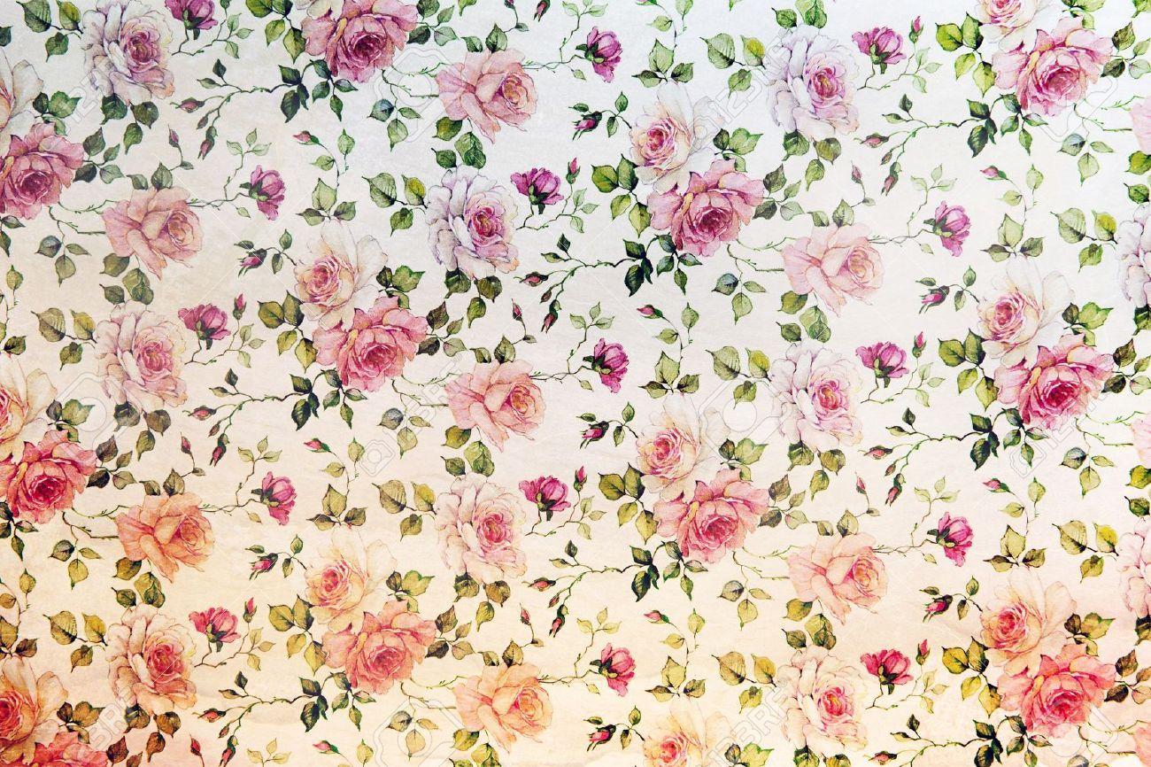 weinlese rosa rosen wallpaper in einer wiederholung hintergrund muster mit blumen und hinteren. Black Bedroom Furniture Sets. Home Design Ideas