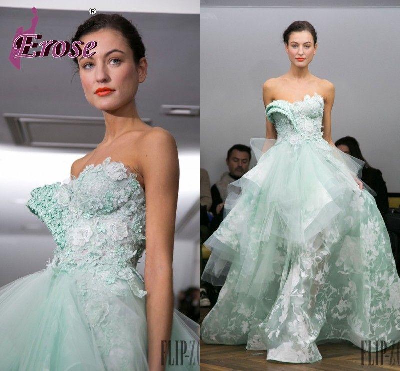 6b465f3f859 mint dress long Efl-168 wunderschöne trägerlosen a- linie blume applique  rüsche ebay abendkleider