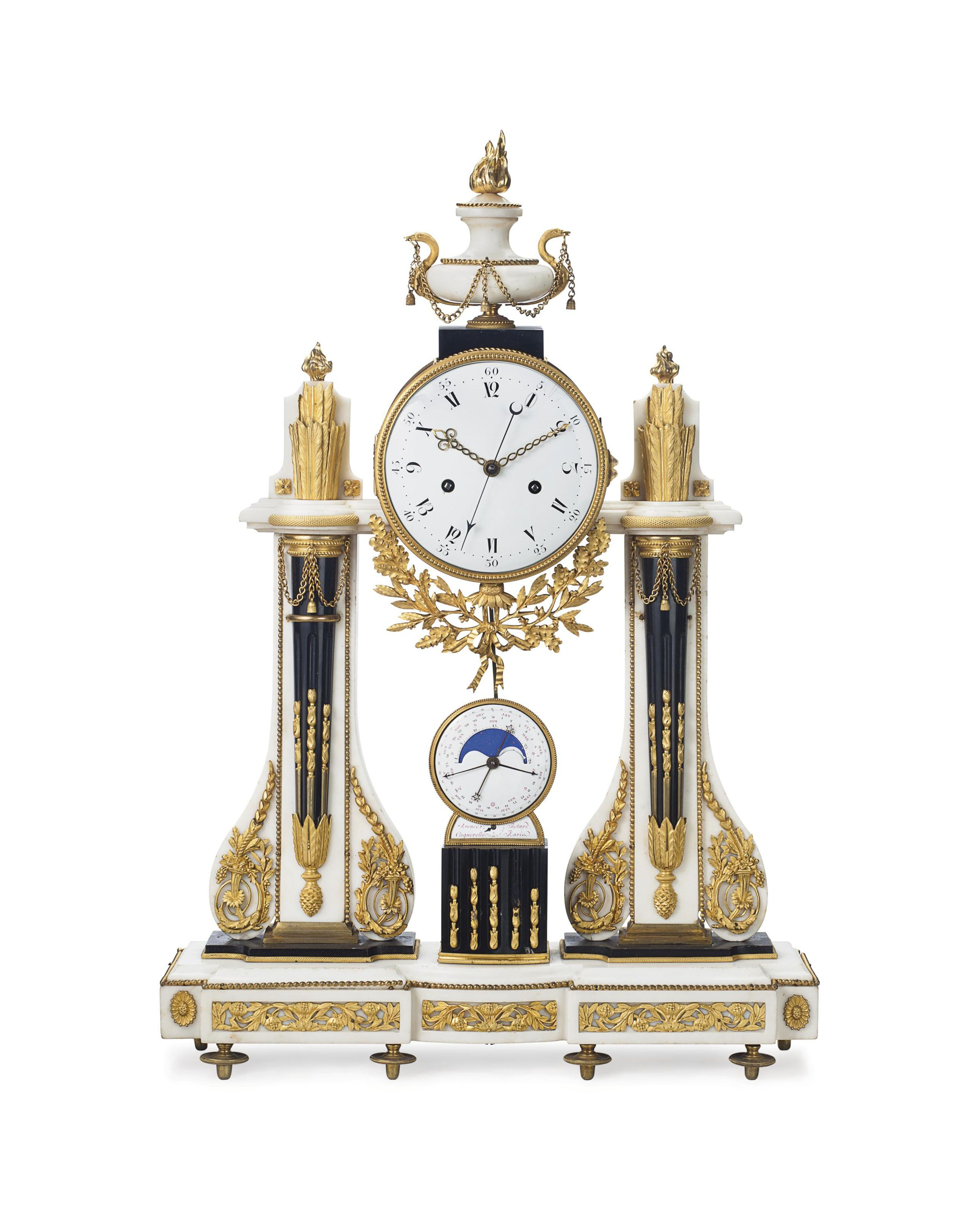 Date Unspecified A Louis Xvi Ormolu Mounted White And Black Marble Portico Clock By Caquerelle Paris Late 18th Ce French Antique Clocks Clock Antique Clocks