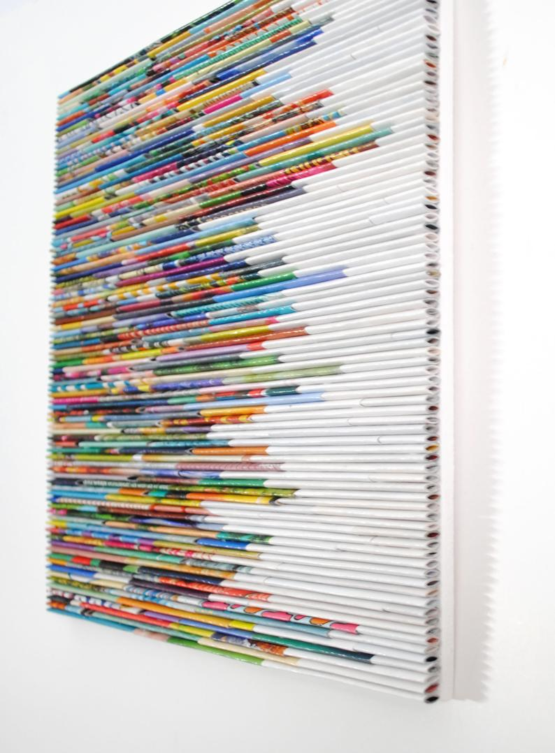 COLORFUL bright wall art made from recycled magazines 10   Etsy