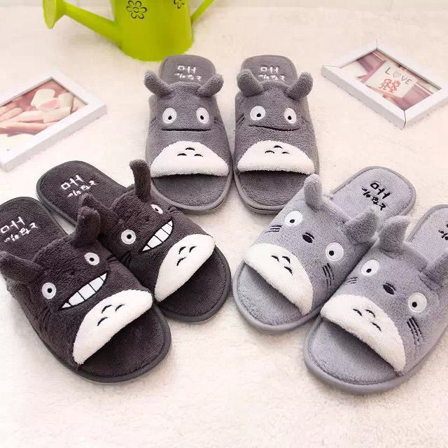 17777a10b4a Totoro cartoon opening couple slippers cotton slippers plush home floor  coral velvet slippers indoor skid