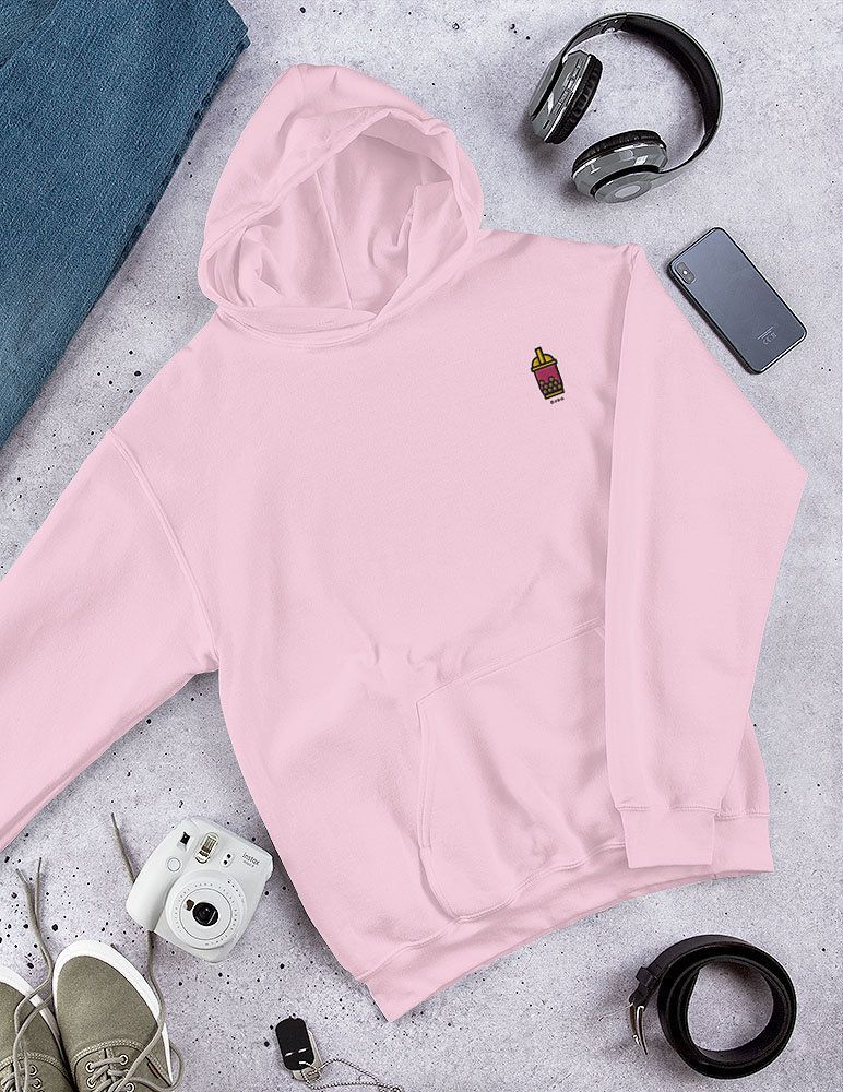 Embroidered Boba Bubble Tea Cute Women Pink Sweatshirt Sweater Hoodie Embroidery - Kawaii Embroider