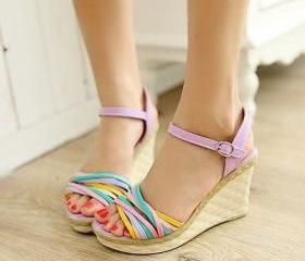Summer Casual Womens Trendy Ankle Strap Open Toe Wedge Pumps Sandals Shoes