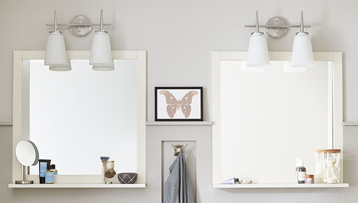 Install A Mirrored Medicine Cabinet And Vanity Light Bathroom Mirror With Shelf Bathroom Mirrors Diy White Bathroom Mirror