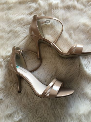 da8b714bcc3b Women s Nude Patent Leather Ankle Strap Heels Size 8 Nine West ...