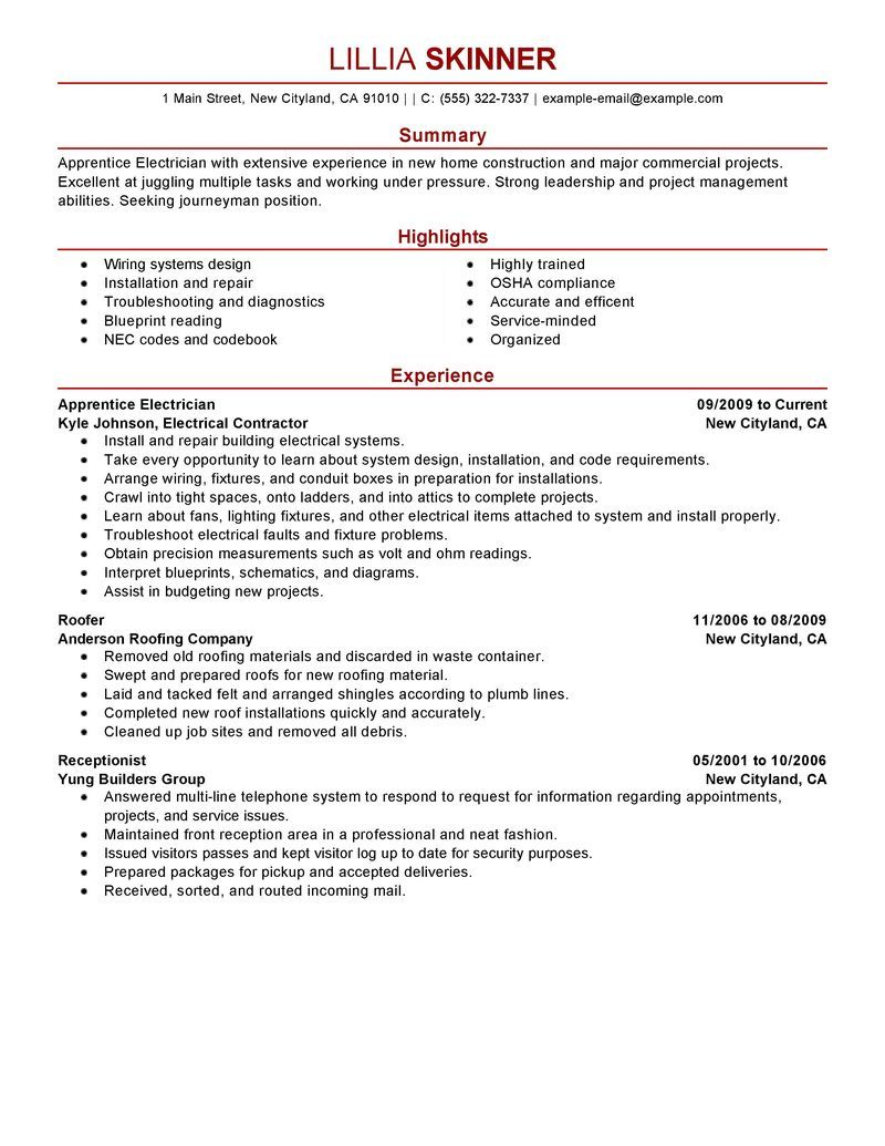 Best Apprentice Electrician Resume Example Livecareer Tips For
