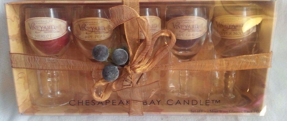Chesapeake Bay Candles Set Of 5 Mini Wine Glasses 1 Oz Each In Gift Box Unused Chesapeakebaycandle Chesapeake Bay Candles Candle Set Wine Glasses