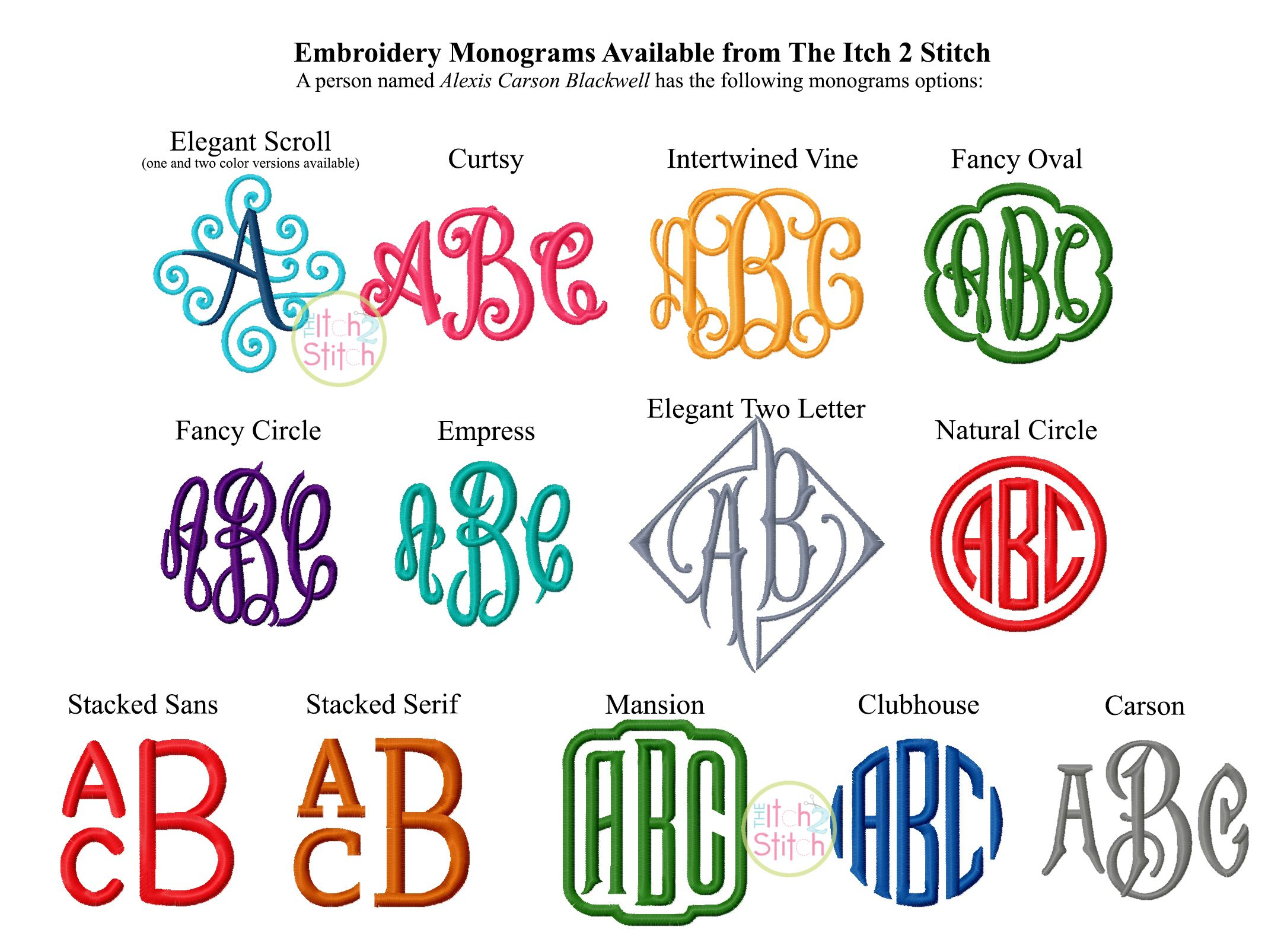 monogram options available from the itch 2 stitch       theitch2stitch com  embroidery