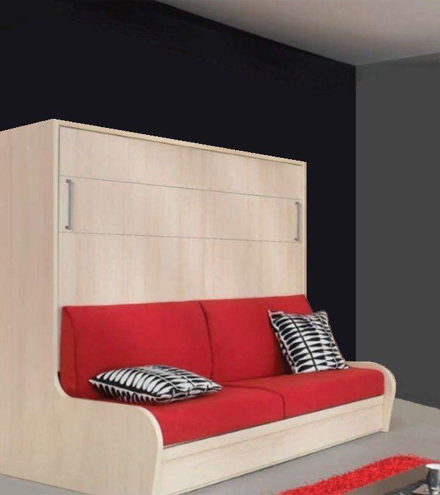 armoire lit transversal zurich autoporteur avec canape couchage 140cm