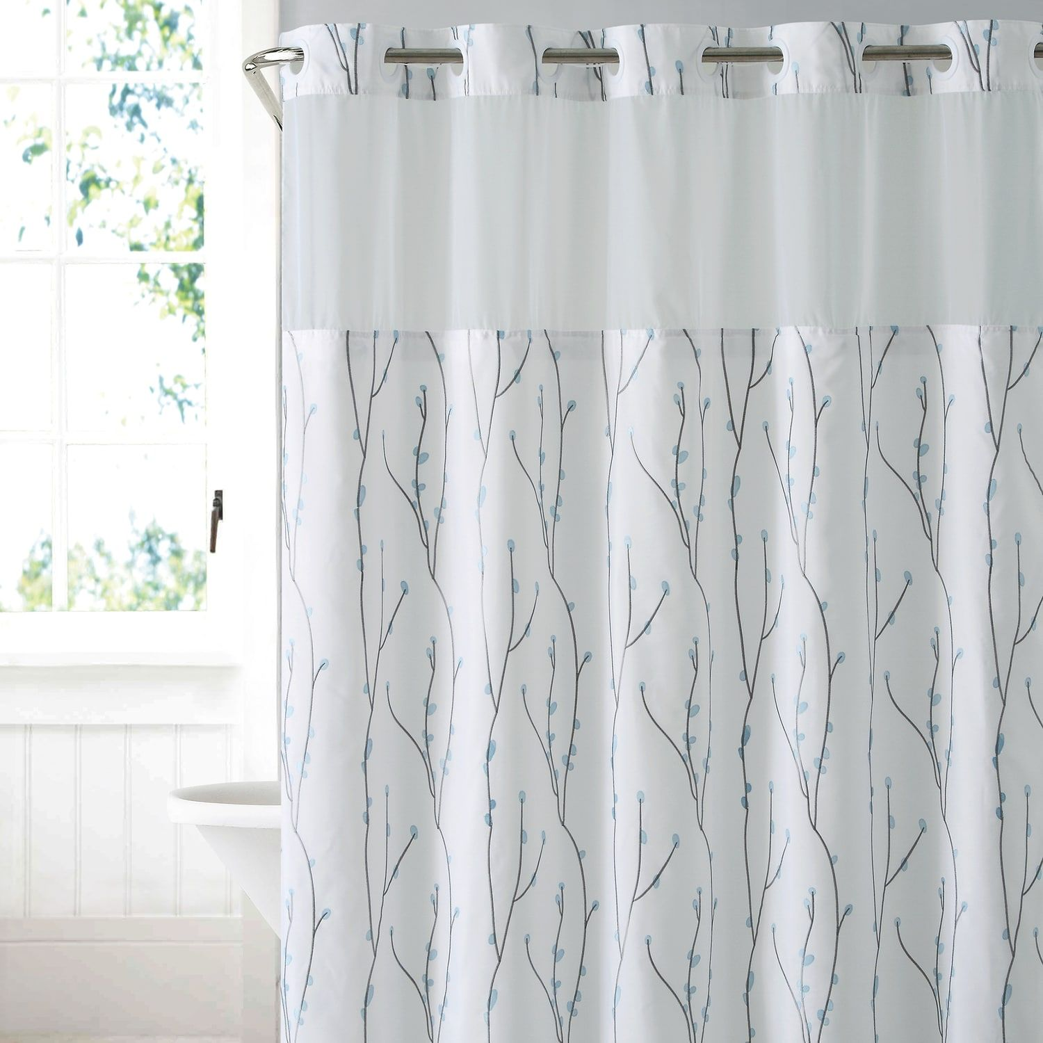 Hookless Cherry Bloom Shower Curtain Liner Bloom Cherry