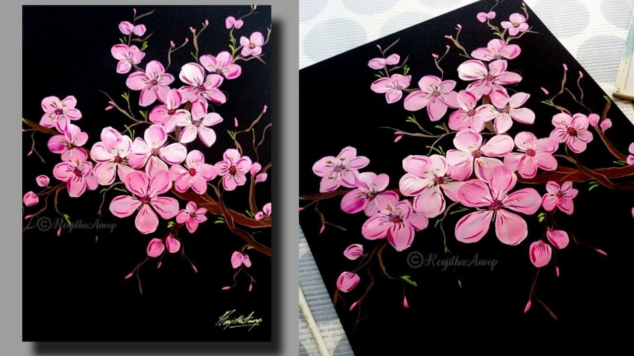 Peinture Acrylique Step By Step Cherry Blossom Pour Les Debutants Arbr Cherry Blossom Painting Acrylic Cherry Blossom Painting Simple Acrylic Paintings