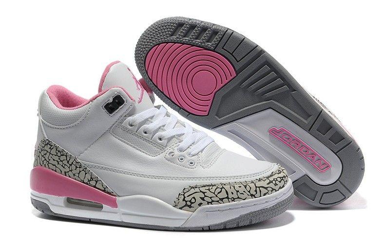 buy popular 53835 2ef42 Women Air Jordan 3 Retro Shoes White Pink Grey