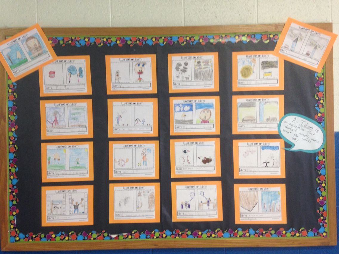 Idiom Work Sheets On Bulletin Board