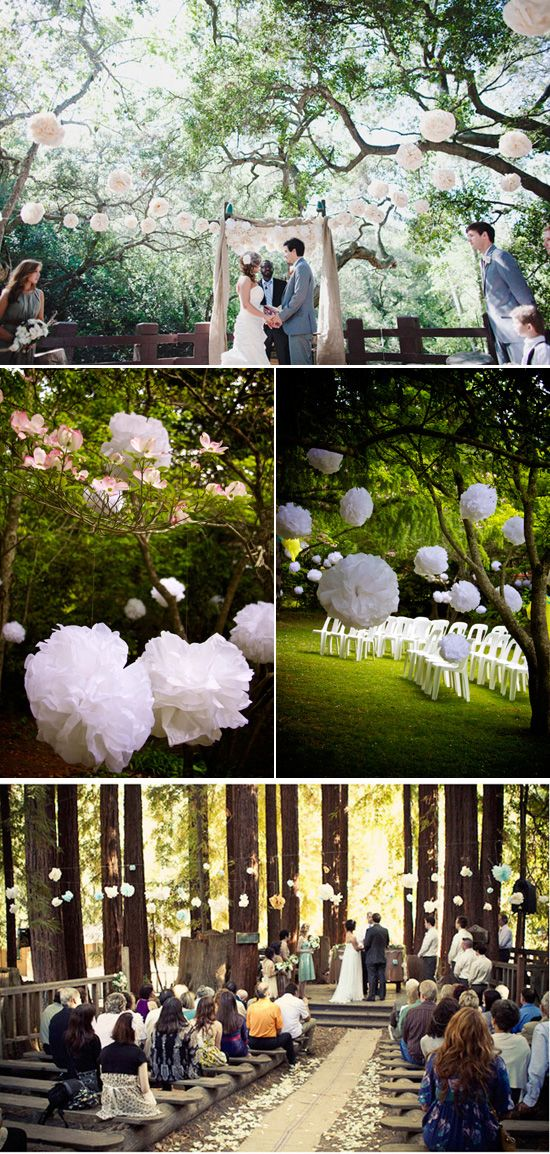 hochzeit drau en wedding natur b ume pom poms trauung hochzeit pinterest. Black Bedroom Furniture Sets. Home Design Ideas