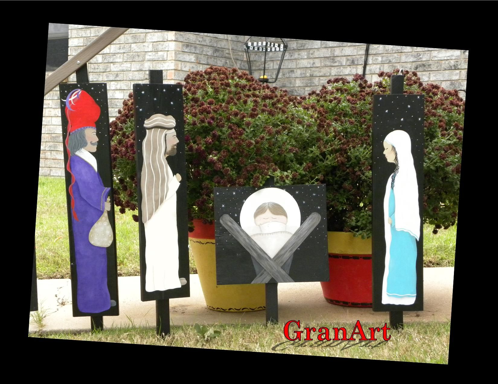 Nativity - painted on wood, using acrylics. Just a fun project! By GranArt