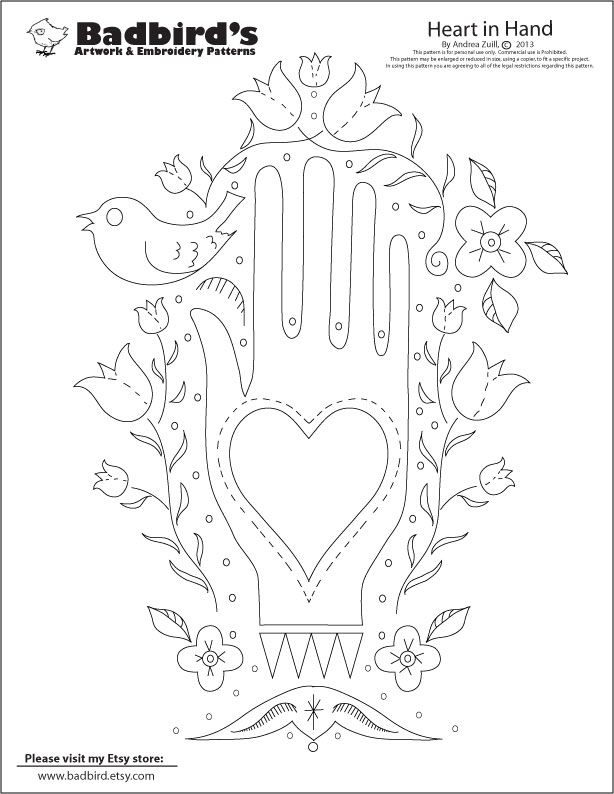 folkart heart patterns | March\'s Free Embroidery Pattern! The folk ...