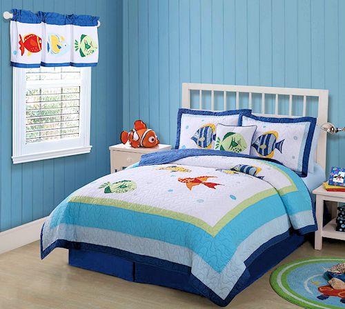 Kids Ocean Fish Bedding Twin 2pc Quilt Set Tropical Sea Beach