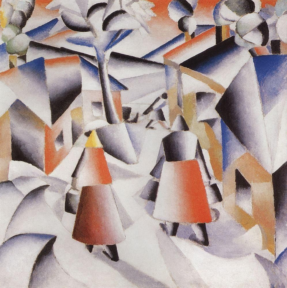 Morning in the Village after Snowstorm by @artistmalevich #cubofuturism