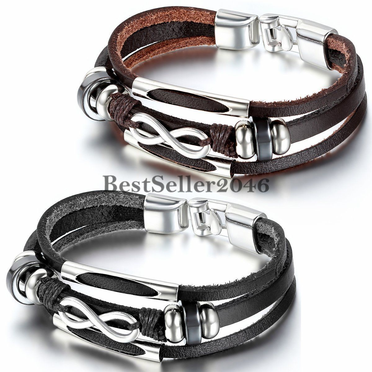 Infinity love charm wrap leather menus womenus friendship bracelet
