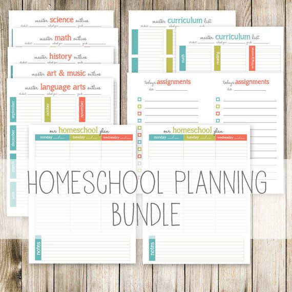 Plan your homeschool lessons and curriculum in style with this colorful, simple Homeschool Planning Bundle!    In this INSTANT DOWNLOAD, you