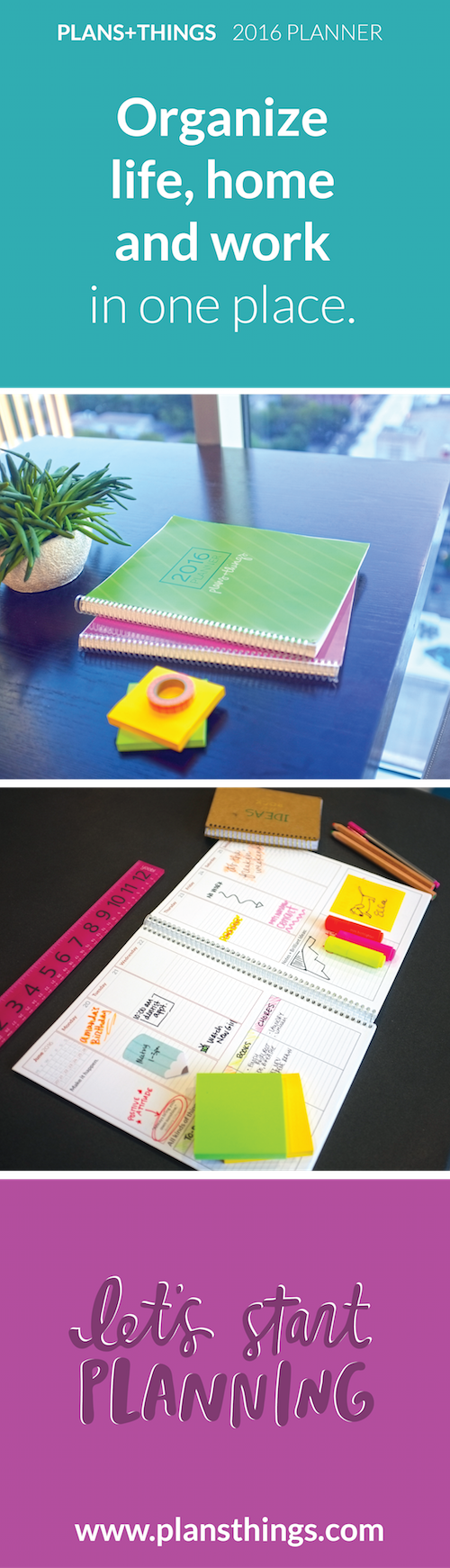 Organize life, home and work in one place with the 2016 Plans+Things Planner! #planner