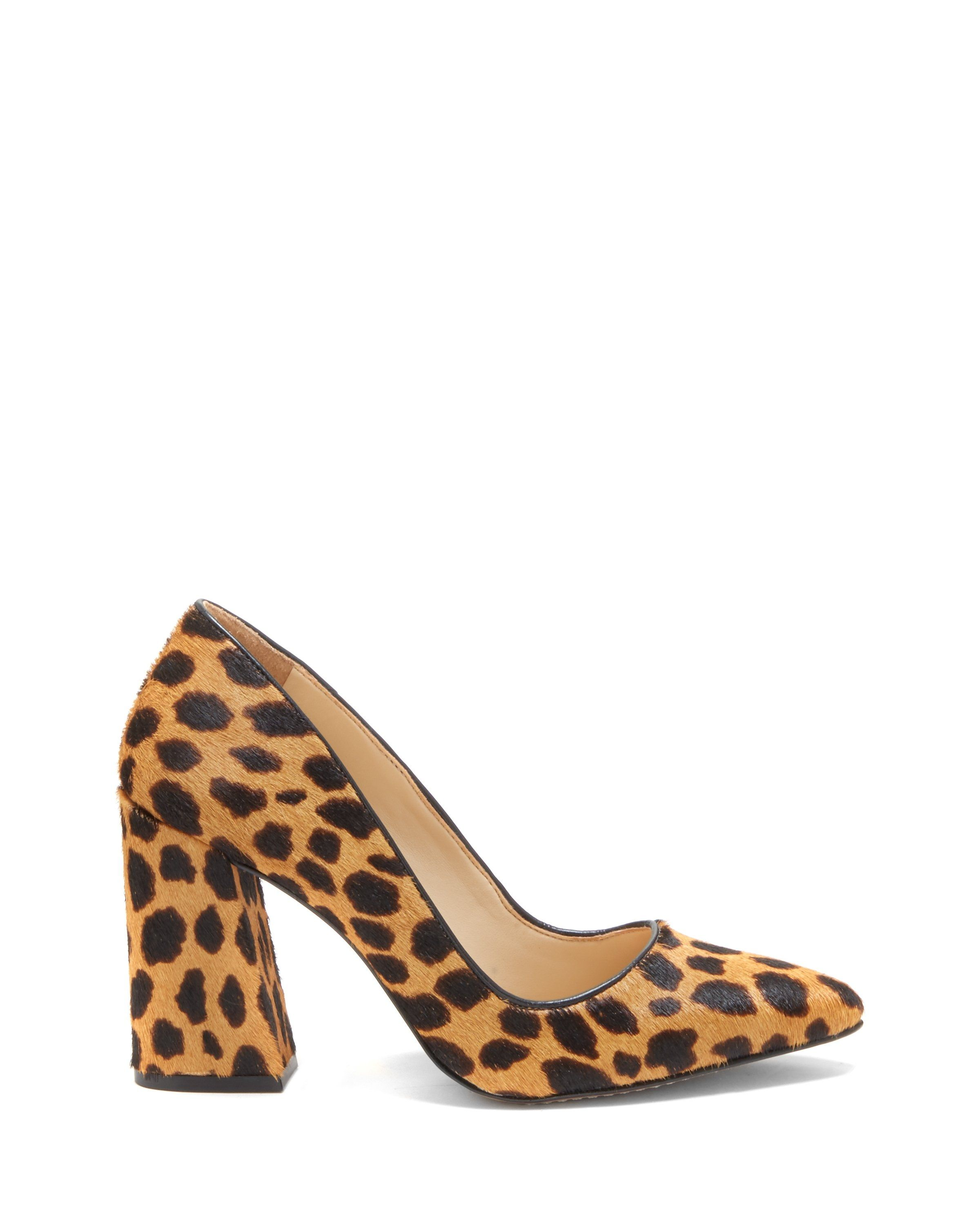 0fcc10ae42545 Vince Camuto Talise2 Pumps  cheetah-print point-toe pumps with a chunky  heel 3.75