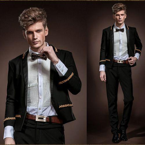 Custom Black Embroidered Slim Fit Casual Dress Suit Jacket Wedding Men SKU-123597