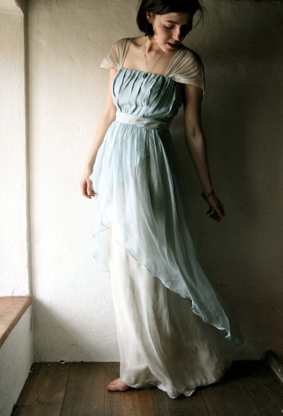 dress in light blue Naturally dyed silk chiffon - READY TO SHIP ...