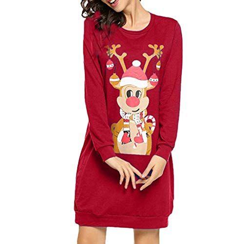 36a8273624eb Vestito Donna Abito Natale Scimmia Elegante Manica Lunga Piumino Pelliccia  Maglione Inverno Moda Giacca Cappotto Qinsling