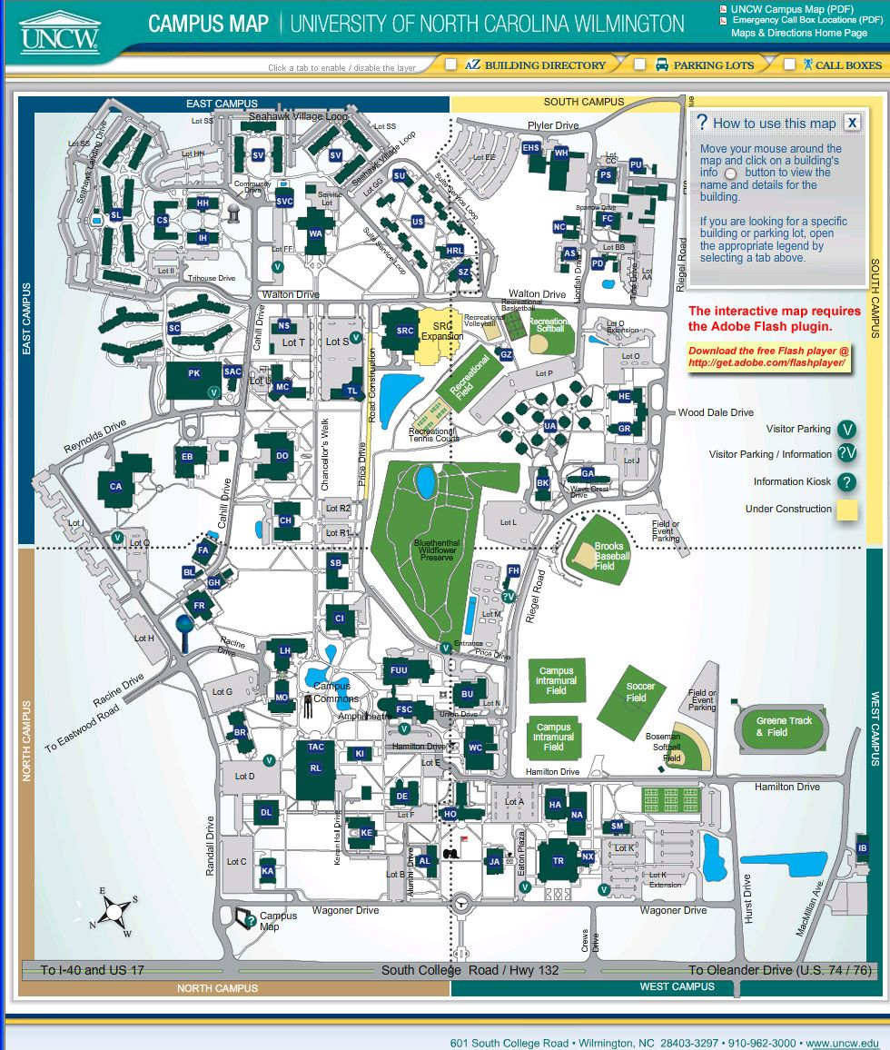 Unc Greensboro Campus Map.Uncw Campus Map Uncw Interactive Campus Map Uncw Pinterest