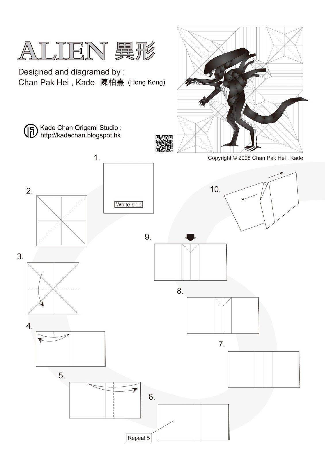 Origami alien xenomorph by kade chan origami studio origami origami alien xenomorph by kade chan origami studio jeuxipadfo Images