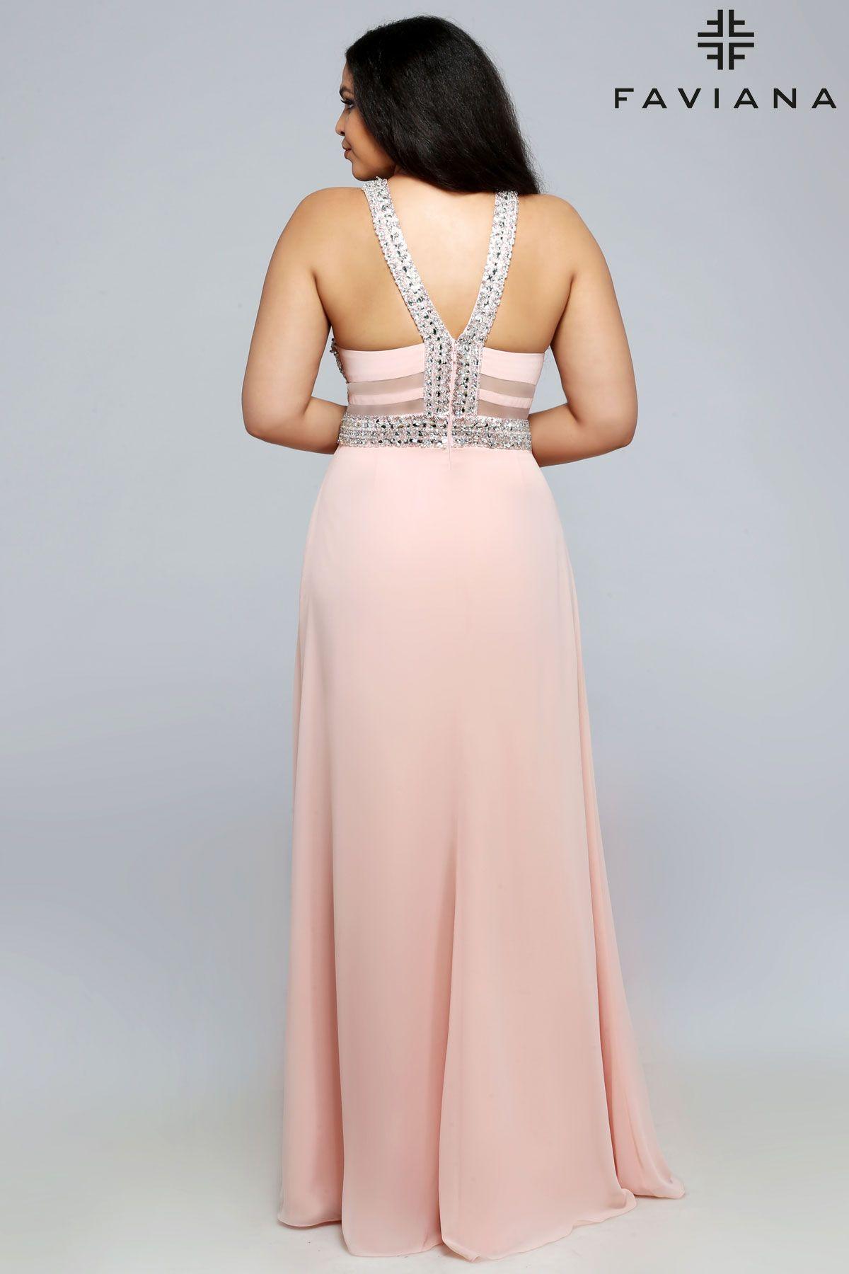 Chiffon v-neck beaded bust #Faviana Style 9388 #PromDresses   All ...