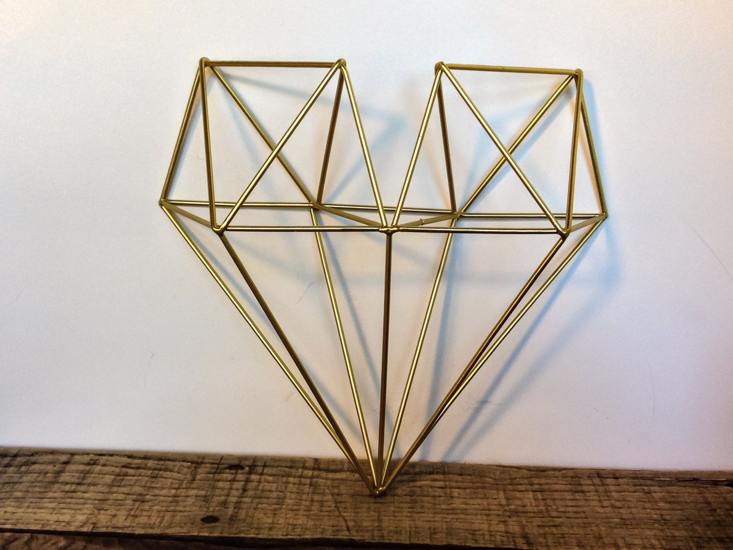Modern Metal Wall Decor gold geometric heart - metal heart wall decor - metallic 3d heart