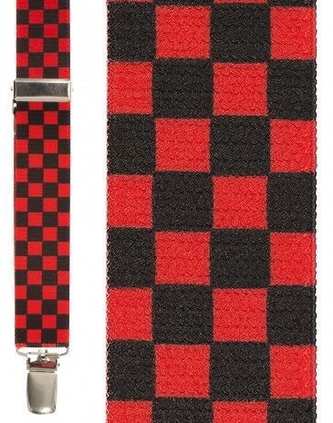 Black and Red Checkers Suspenders