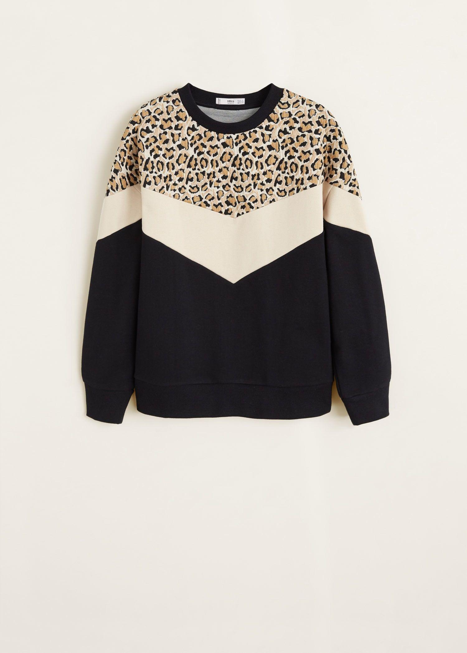 Leopard Panel Sweatshirt Women Mango Usa Sweatshirts Women Hoodie Fashion Sweatshirts [ 2098 x 1500 Pixel ]