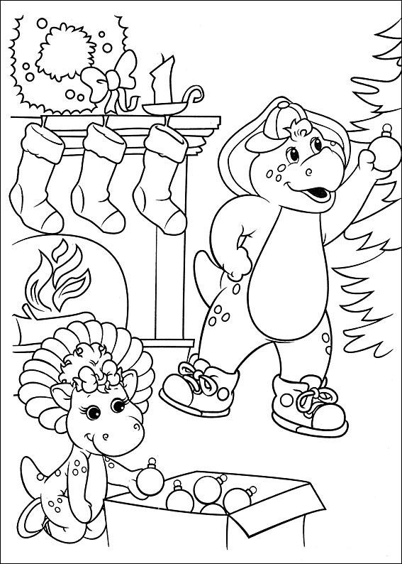 Cute Barney Coloring Book 65 Barney and friends Coloring