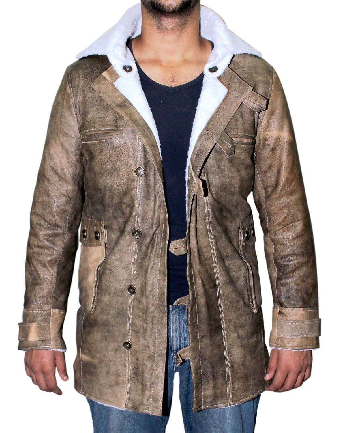 Avail Today S Blackfridaydeal For Real Leather Coat Of Bane Worn By Tomhardy At Our Very Mens Shearling Bomber Jacket Mens Leather Coats Fur Leather Jacket [ 1500 x 1203 Pixel ]