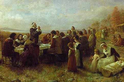 Large First Thanksgiving Pilgrims Indians American Painting Canvas Art Print