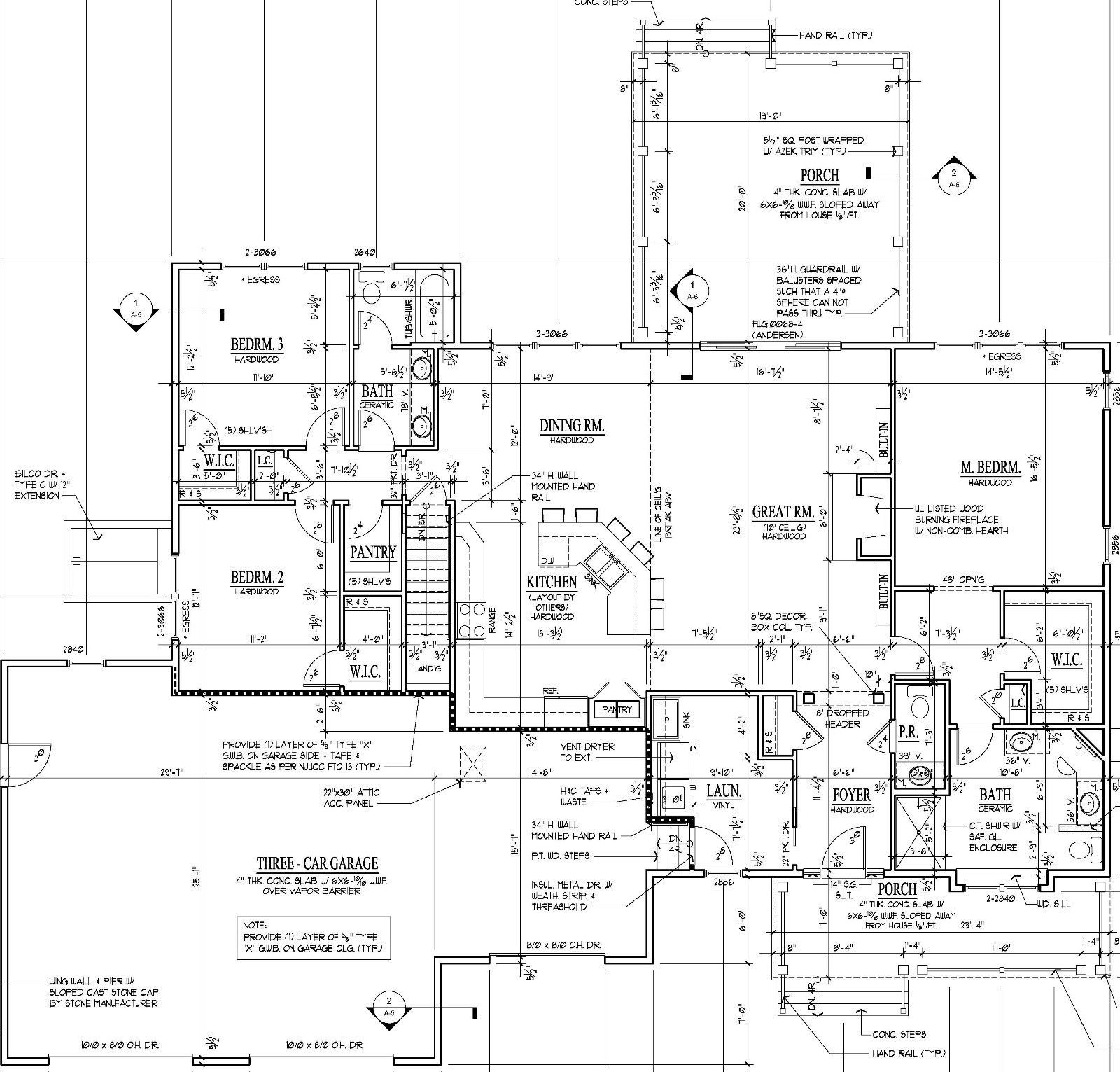 Rancher Construction Drawing Plans 2 125 Sq Ft 3 Bed 2 Baths