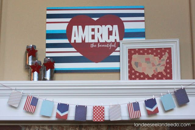 4th of July Mantel-- America the Beautiful using Project Life Seasons mini kit. Awesome awesome awesome!!!