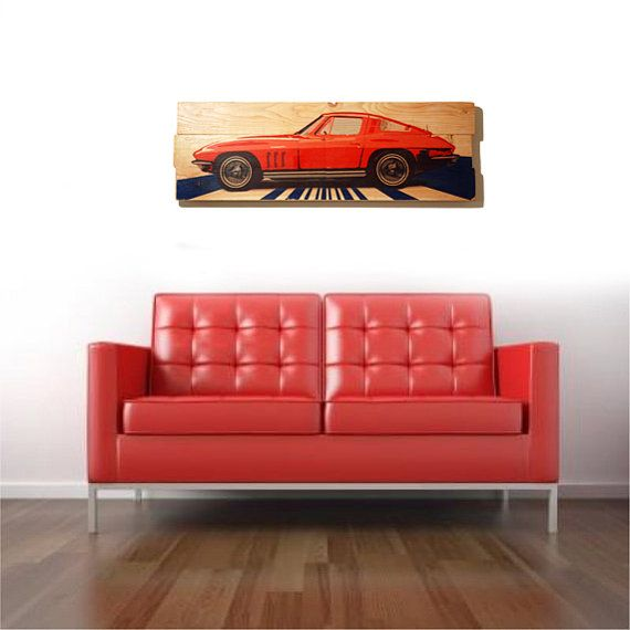 Large 1964 Corvette Stingray Car Wall Art on Solid Wood Boards - 32 ...