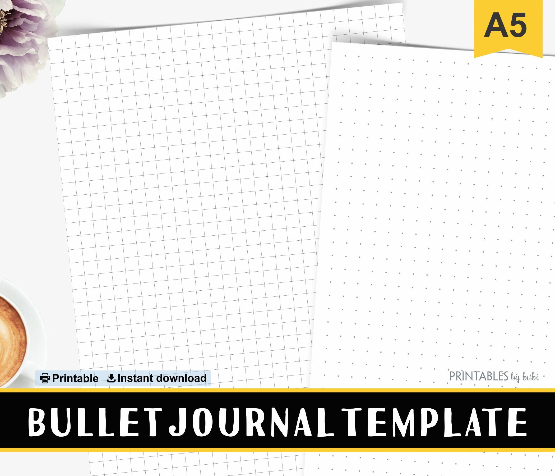 Graph Paper, Bullet Journal, Printable, Grid Paper, 5mm, BUJO, Graph ...