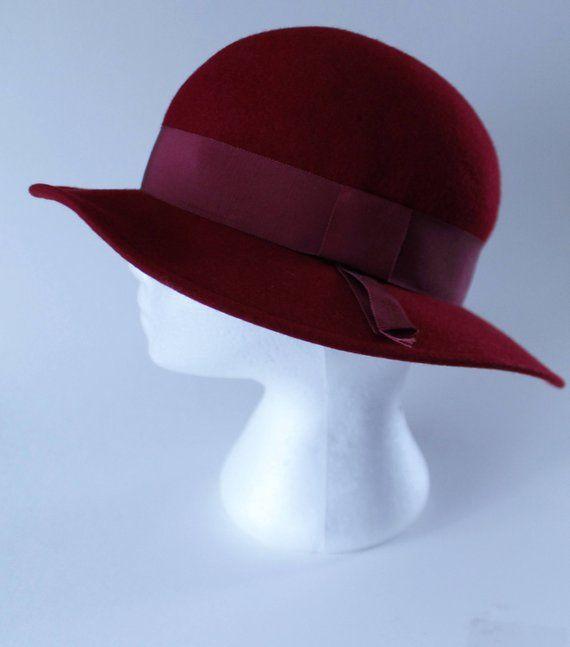 bb7c43122f3eb3 Burgundy Felt Hat by Kates Boutique, Wide Brim Formal Vintage 1980s 22 Inch