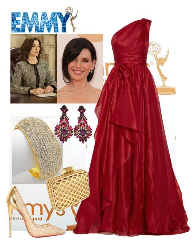 """Julianna in Marchesa"" by shoppe23online ❤ liked on Polyvore featuring moda, Marchesa, Christian Louboutin, marchesa, fashionjewelry y emmyawards"