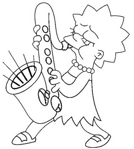 Lisa Simpson Play Saxophone Coloring Page Printable Coloring