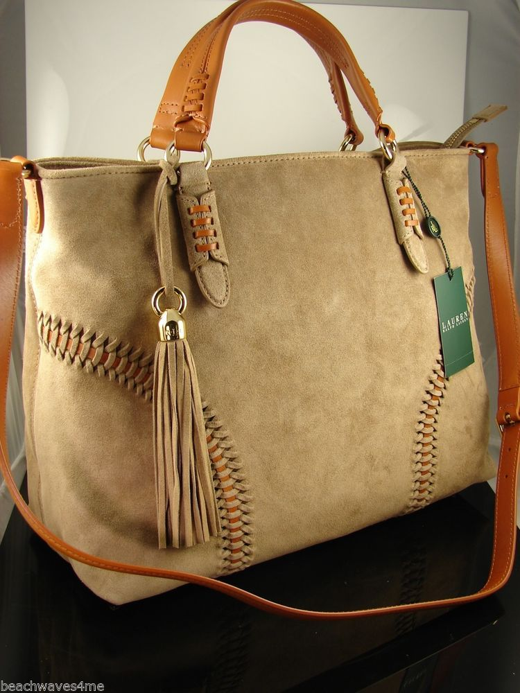 Ralph Lauren Indian Cove Desert Brown Suede Convertible Tote Bag New with  Tags  RalphLauren  TotesShoppers 75b02e8db13f8