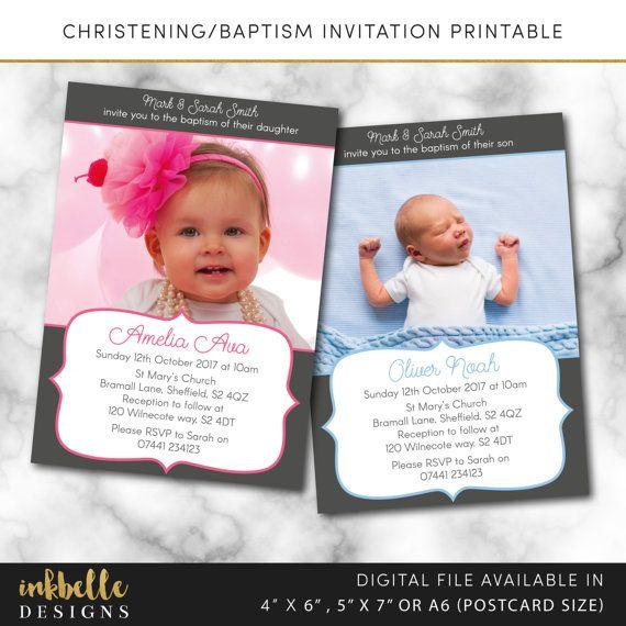 Christening invitation, Baptism invitation, Naming day invitation - invitation for baptism girl