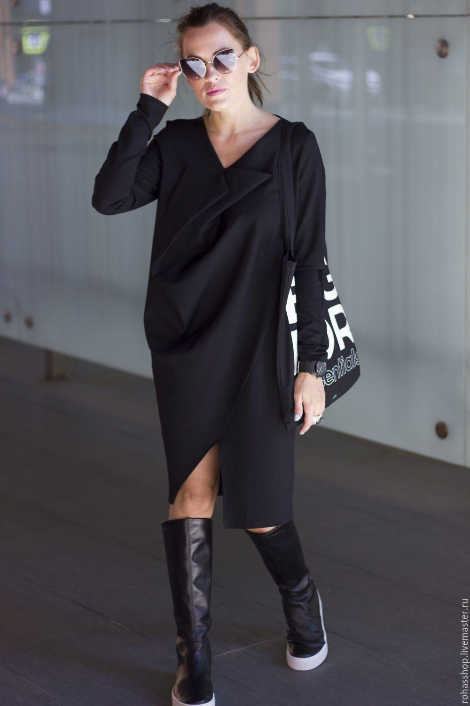 f79c3b0e6c4 Вечернее платье Платье черное платья стильное платье длинное платье  свободный стиль платье на выход повседневное платье