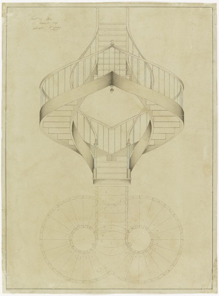 Drawing Elevation And Plan View For A Double Spiral Staircase December 1887 Stairs Architecture Staircase Art Spiral Stairs